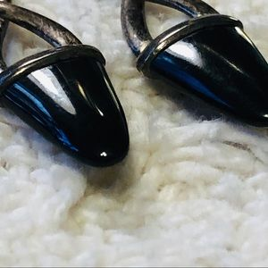 Jewelry - EARRINGS Sterling Silver & Onyx dainty dangle